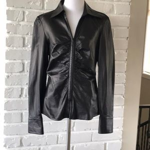 Lafayette 148  Leather Shirt Gathered Front EUC 4